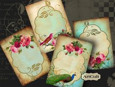 ROMANTIC ELEGANCE - Gift Tags Digital Collage Sheet Printable Jewelry holders Scrapbooking Greeting cards Shabby Labels Paper goods. $4.60, via Etsy.