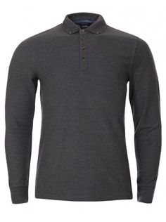 Twisted Soul Mens Charcoal Grey Long Sleeve Polo Shirt, £16.99