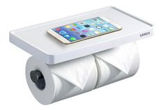 Sanliv Double Toilet Roll Holder with Cellphone Shelf. #toiletpaperholder, #toiletrollholder.