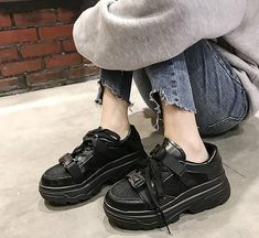Trying to find women's boots and shoes? Sneakers Fashion, Fashion Shoes, Platform Creepers, New Shoes, Women's Shoes, Punk Shoes, Shoes Style, Aesthetic Shoes, Cheap Boots