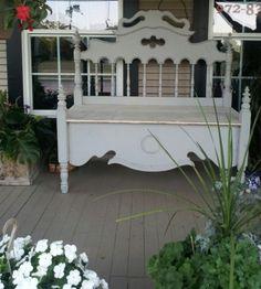 Great BENCH made from a 1920's Victorian era bed!!  https://www.dumpster-diva-mimi.blogspot.com