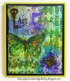 Paper Creations by Shirley: Mixed Media Card Design or Journal Page.