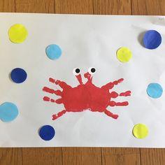 【アプリ投稿】7月製作カニ見本は2歳の子どもの手です目はシール周… | みんなが投稿した遊びや製作の写真がいっぱい!あそびのタネNo.1 保育や子育てに繋がる遊び情報サイト[ほいくる]