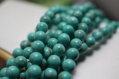NEW - Small Turquoise Round Beads - 4mm - 50 pcs. $5.00, via Etsy.