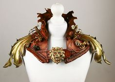 Handcrafted Leather Steampunk Armour Gorget Collar with Lion [BWL003]