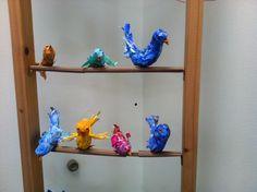 Kunstunterricht Grundschule Pappmaché Vögel