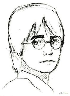 "Drawings Easy - How to Draw Harry Potter. Harry Potter is the main protagonist of the ""Harry Potter"" series. He is a wizard and has many adventures. He goes to Hogwarts School, where he studies magic. Let's start drawing! Draw an oval and a line. Harry Potter Kunst, Harry Potter Drawings Easy, Harry Potter Sketch, Décoration Harry Potter, Harry Potter Painting, Harry Potter Cartoon, Harry Potter Cosplay, Harry Potter Pictures, Harry Potter Characters"