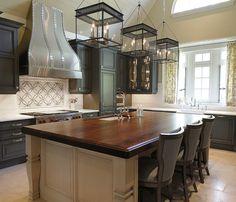 Elegant Kitchen With Heritage Wood Countertops In Black Walnut.