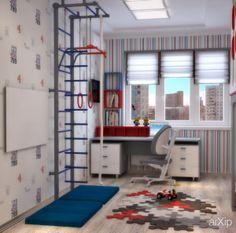 Детская в красном и синем цвете для двоих мальчишек - 3D визуализация: интерьер, зd визуализация, квартира, дом, детская комната, неоклассика, 20 - 30 м2, интерьер #interiordesign #3dvisualization #apartment #house #nursery #neoclassicism #20_30m2 #interior arXip.com
