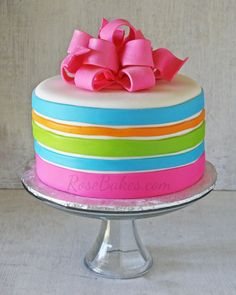 Neon Stripes Birthday Cake with Hot Pink Poofy Bow