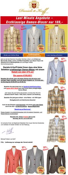 Last-Minute-Angebot! – Exclusive Damen-Blazer mit 37% Rabatt! Sie sparen 100,- EURO. http://www.daniels-korff.de/