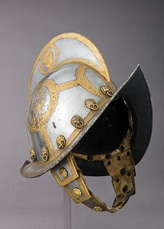 The electors of Saxony appear to have been the only German princes in the sixteenth century to outfit their bodyguards with matching equipment. The guards' helmets are etched and gilt on one side with the coat of arms of the dukedom of Saxony and on the other side with the crossed swords that signify the duke's office as archmarshal of the Holy Roman Empire