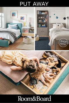 Stay organized with storage beds, baskets, shelves, under-the-bed drawers, and other innovative decor to keep your kids' rooms as clean as the rest of your home. Minimalist Kids Furniture, Modern Kids Furniture, Bed Storage, Storage Spaces, Rustic Couch, Kitchen Remodel Cost, Kitchen Remodeling, Bed With Drawers, Vintage Kitchen