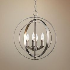 """$216.99 Burnished silver finish.  Pivoting rings.  Takes four 60 watt bulbs (not included).  18 1/2"""" high.  16"""" wide."""