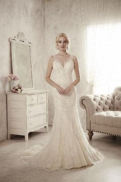 Balletts Bridal - 22870 - Wedding Gown by Jacquelin Bridals Canada - Fully Beaded Slim Gown With Beaded Illusion Back. V Neck
