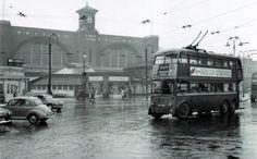Double-decker trolleybus at Kings cross railway station, 1950s.