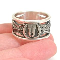 Star Wars Ring  Sterling Silver  Jedi Symbol by SwankMetalsmithing, $325.00