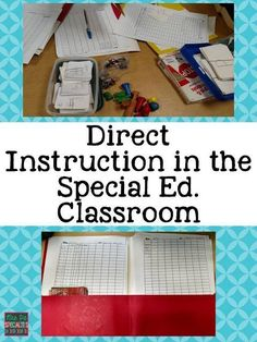 Direct Instruction Work Centers: a peek into how we organize and run direct instruction centers in our self-contained special education classroom. These ideas are perfect for students with autism, multiply disabled students, and other students in special Teaching Special Education, Co Teaching, Teaching Strategies, Physical Education, Gifted Education, Teaching Ideas, Teaching Phonics, Teaching Time, Life Skills Classroom