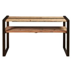 Reclaimed Wood & Metal Sofa Table by HomeFare Wood Sofa Table, Dining Bench, Wood And Metal, Solid Wood, Metal Sofa, Outdoor Furniture, Furniture Ideas, Outdoor Decor, Eclectic Design