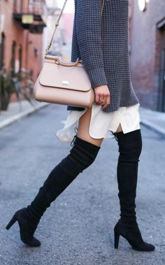 ivory shirtdress, grey oversized sweater, black over the knee boots + nude handbag {equipment, everlane, stuart weitzman highland, dolce & gabbana miss sicily}