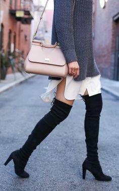 ivory shirtdress, grey oversized sweater, black over the knee boots + nude handbag {equipment, everlane, stuart weitzman highland, dolce & gabbana miss sicily}