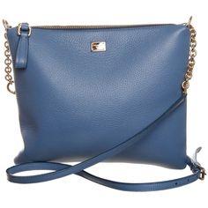Dolce & Gabbana Blue Leather Messenger Bag ($1,035) ❤ liked on Polyvore