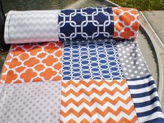 Baby quilt,Nautical,navy,grey,orange,Baby boy bedding,baby girl quilt,Patchwork Crib quilt,chevron baby blanket,dots,waves,modern,cot,fleece on Etsy, $70.00