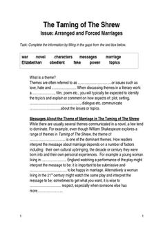 Need help writing my paper marriage in shakespeare's the taming of the shrew