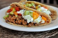 Big Fat Greek Tacos with ground turkey