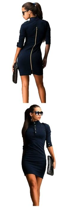 Timeless, ladylike and versatile, this zipper bodycon will be an invaluable addition to your 9-to-5 wardrobe. This figure-flattering style is tailored for every season and comes complete with a fitted silhouette, cute buttons at the collar and sleeves, and an elegant back zipper. Wear yours with pumps.