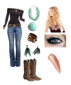 Boots, jeans, shirt, belt, jewelry GOOD~got no nails cuz I work with horses etc but the eye make up is pretty.