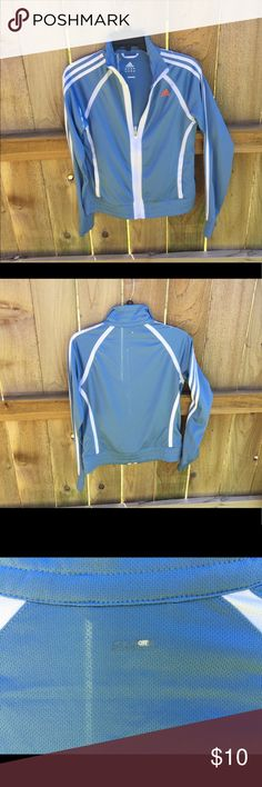 Adidas baby blue and white striped light jacket Worn about 10 times. 1 little snag and wear on text (shown in picture). You can't even really see them. love this jacket. I just have too many in my closet! From a smoke free home. Adidas Jackets & Coats