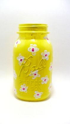Yellow Painted Mason Jar with White Flowers by ShamisesBlissful, $12.00