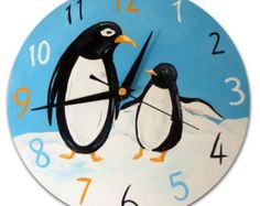 Excited to share this item from my shop: Kids Penguin Clock, Wooden Clock, Penguin Decor, Penguin Gift, Girls Decor Nursery Decor Boy, Girl Decor, Boys Room Decor, Clock Shop, Diy Clock, Wooden Clock, Wooden Walls, Small Clock, Retro Clock
