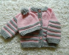 EXPRESS SHIPPING!!! Knit Baby Pink And Gray Striped Soft Baby Girl Sweater and Hat Set With Buttons Newborn Baby Wool