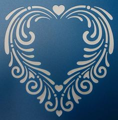 Swirly Heart Stencil by kraftkutz on Etsy