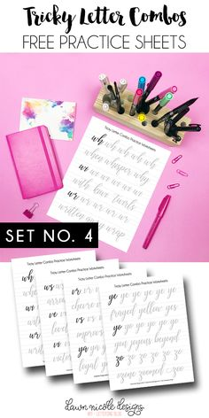 Tricky Letter Combo Practice Sheets: Set 4of reader-requested letter combos! I hope you enjoy this series of Free Brush Calligraphy Practice Worksheets.