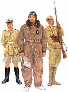 The Italian invasion of Abyssinia, 1935-36 • Pilot Capitano, Regia Aeronautica  • Pilot Capitano of the 15th 'La Disperata' Squadron in flying gear  • Askari, VIII Libyan Infantry Battalion, Libia Division