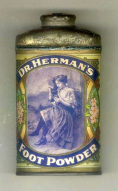 1910 Tin advertising Can - DR. HERMAN'S FOOT POWDER - Brooklyn, NY, Apothecary