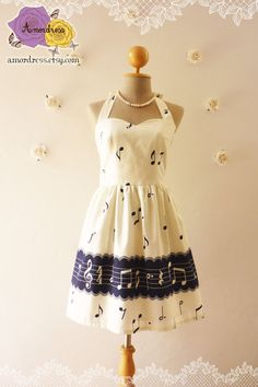 Music Lover White with Navy Hem Dress Retro Party Cocktail Bridesmaid Choir Birthday Concert Event Every Day Dress -Size XS,S,M,L,CUSTOM- on Etsy, $46.50