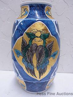 Signed Vintage Japanese Chinese Maybe Arita Imari Porcelain Gilded Lg 12in Vase