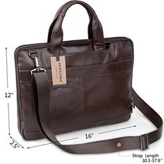 "Jack&ChrisNew Men's Briefcase Laptop Bag Messenger Handbag Leather Bag,NM7233. Dimension: 15.4 x 11.4 x 2.7 inches (39 x 29 x 7 cm), the main compartment can holds up to a 15.6"" laptop. Material: High Quality Leather. Adjustable nice shoulder straps (appr. 85 ~ 140 cm). Anti-dirty, light weight, detachable shoulder strap. Fit A4 documents, business cards, conference file, notebook, pens, etc. Sturdy top handle, good design for business use. Structure: 2* main compartment pocket, 1* rear…"