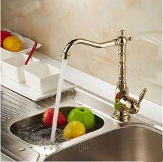 Antique Brass Golden Printed Rotatable Kitchen Mixer Sink Tap TA218G Basin Taps, Kitchen Mixer, Kitchen Taps, Waterfall Taps, Bathroom Sink Taps, Stores, Polished Brass, Antique Brass