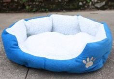 Pet house Soft Warm Indoor Pet Puppy Sherpa Cotton  Bed blue 46 x 42cm *** Check out the image by visiting the link.