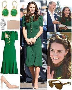 Duchess Kate very much matched the beautiful surroundings of Kelowna today as she and William spent the afternoon watching a volleyball match and sampling some of the province's cuisine.  It was a return to Dolce & Gabbana today, a label she started wearing last year. The new bottle-green 'Pocket Watch-Appliqué Crepe Midi Dress', retailing for £2,150/$3,545, originally featured a pocket watch embroidered design in reference to Alice in Wonderland which Kate had removed; I think it was a good…
