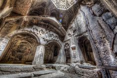 """Armenia Geghard Monastery in Armenia. Geghard (Armenian: Գեղարդ, meaning """"spear"""") is a medieval monastery in the Kotayk province of Armenia, being partially carved out of the adjacent mountain. Armenian History, Armenian Culture, Cantilever Architecture, Ancient Architecture, Bósnia E Herzegovina, Armenia Travel, Les Religions, Trip Planner, Kirchen"""