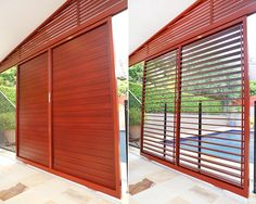 Custom designed sliding louvre screen (Kedron. Brisbane) - DecoWood powder coat wood grain finish on extruded aluminium louvres by Vanguard blinds