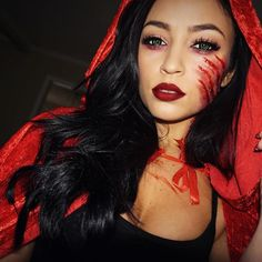 Rabid Red Riding Hood 💋🐺🐾👻 Halloween tutorial just went live ▶️ These contacts were a bitch..if you follow me on snap you know!😆 (snap: SMLx0) Click the link in my bio to watch it now! ❤️