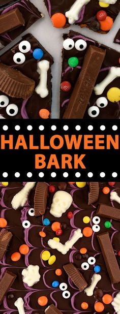 Halloween Candy Bark - a fun and easy Halloween recipe perfect for Halloween parties! Trick or treat! #candybark #chocolate #halloween #halloweentreats #halloweenfood #food #foodrecipes #foodideas #fooddrink #yummyrecipes #deliciousfood #fooddrink #foodrecipes #dessertrecipes #easyrecipes #allrecipes #food_drink #buzzfeed #partycity #artsandcrafts #diyfood #partyfoodideas via @LetsEatCakeBlog