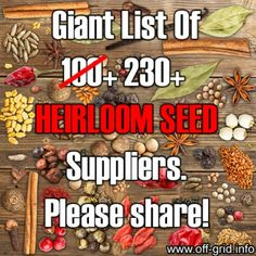 Giant List of 230+ Heirloom Seed Suppliers with LINKS!!